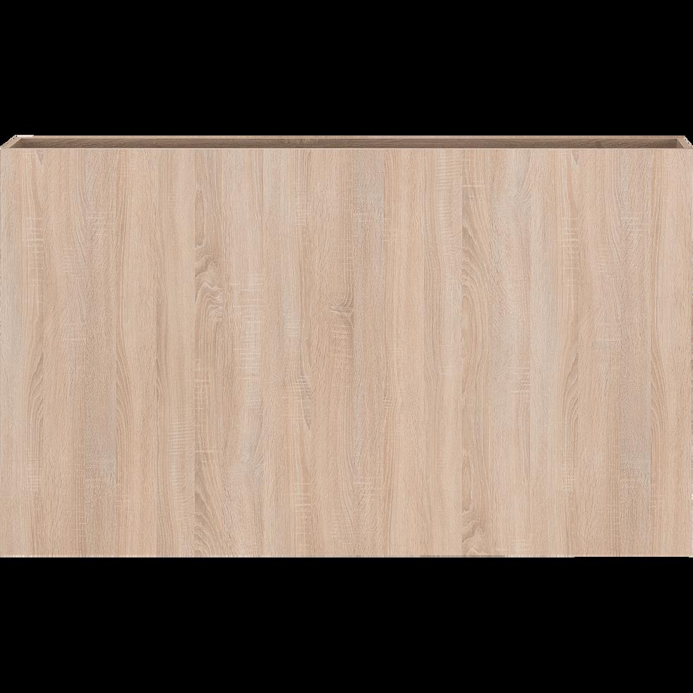 Tête de lit 165cm noir et effet chêne blanchi-BALME