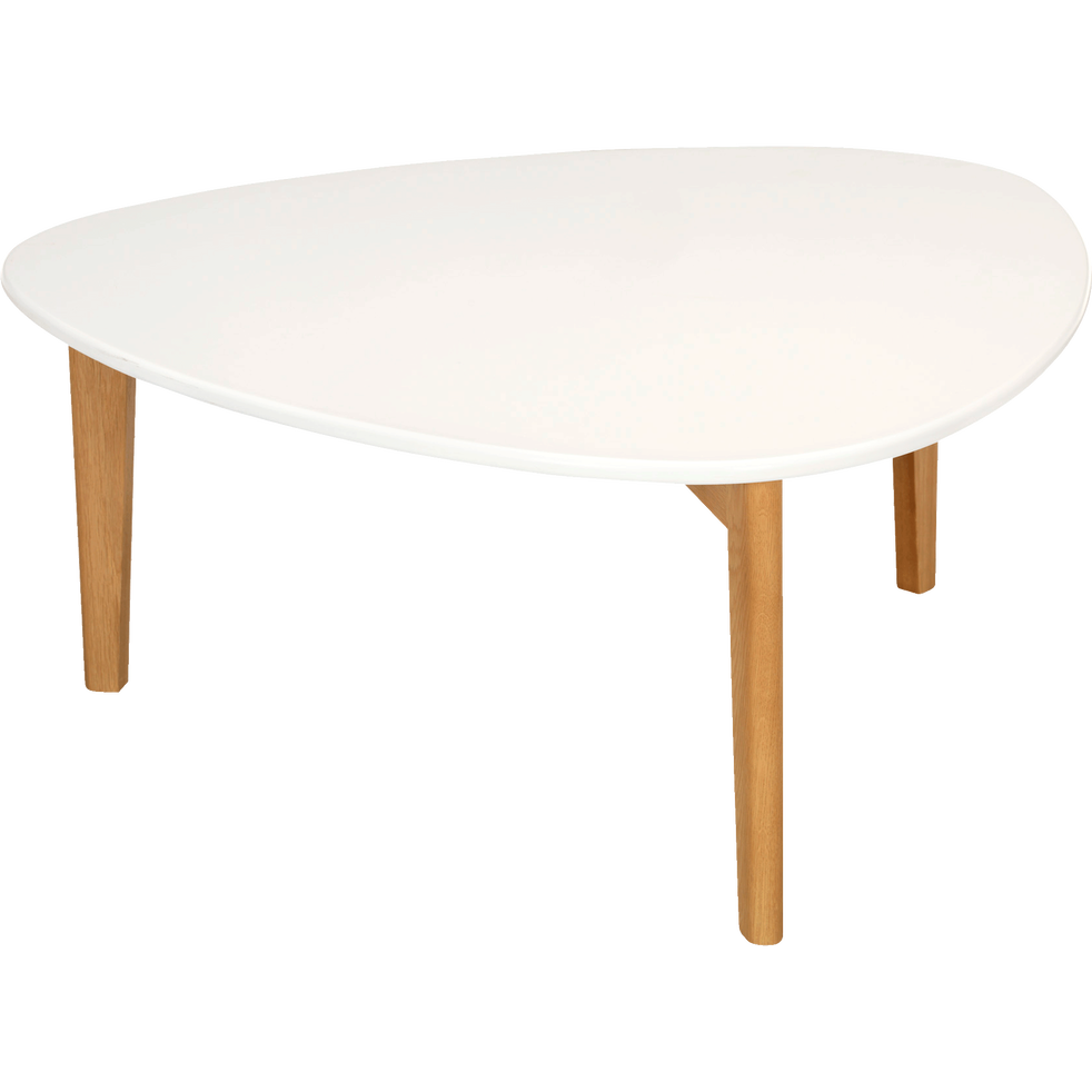 Table Basse Triangulaire Blanche Avec Pieds En Chene Siwa Tables