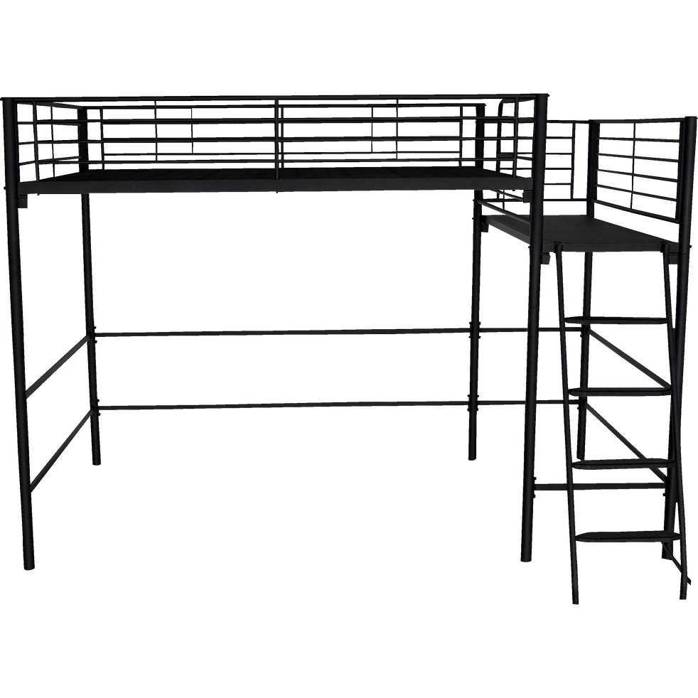 lit mezzanine 2 places en acier noir avec plateforme 140x200 cm alexy 140x200 cm lits. Black Bedroom Furniture Sets. Home Design Ideas