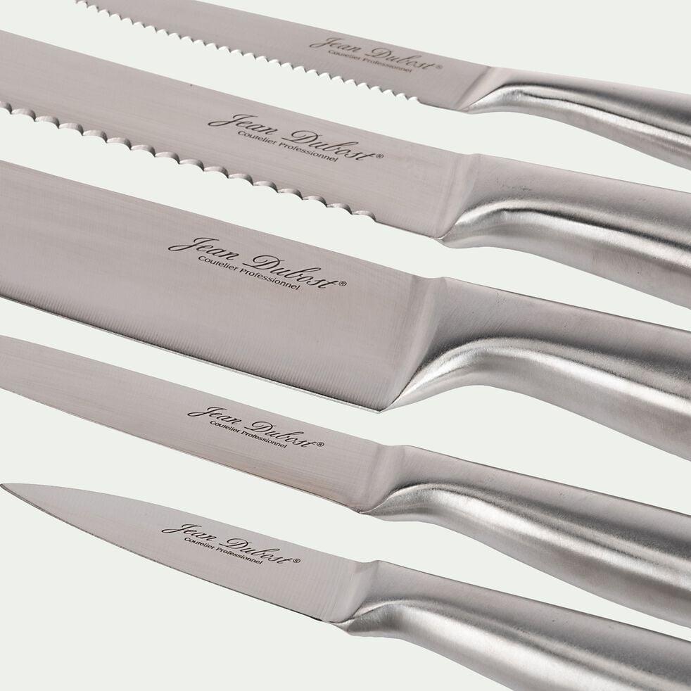 Bloc de 10 couteaux en acacia et inox - gris-FUSAL