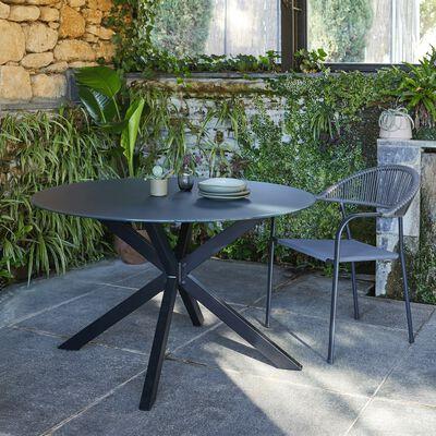 Table de jardin ronde en verre et aluminium - noir (4 places)-LORCA