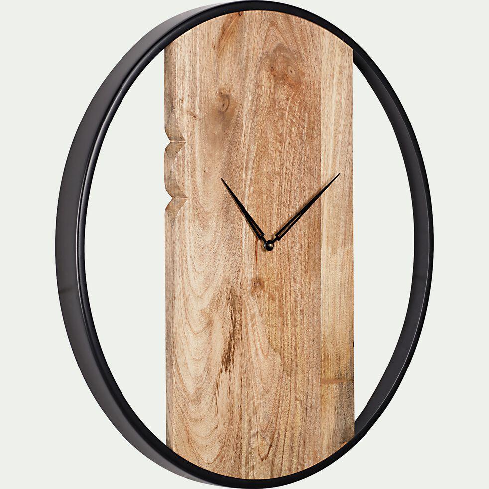 Horloge murale en bois de manguier - noir D60cm-TOINON