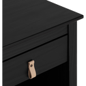 Chevet 1 tiroir avec structure et façade en pin massif noir-LISON