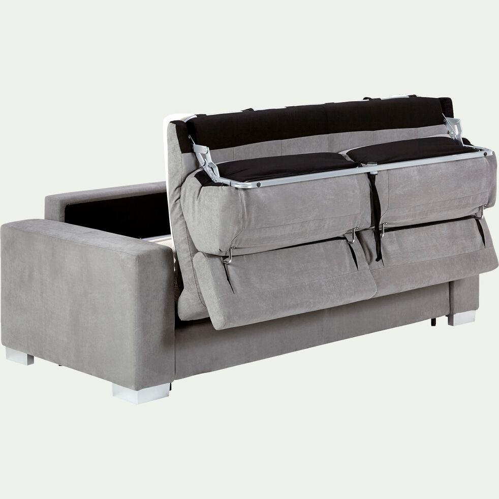 Canapé 3 places convertible en microfibre - gris clair-MAURO