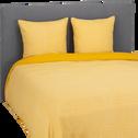 Housse de couette 240x260cm et 2 taies d'oreiller motif jaune-BAHNA