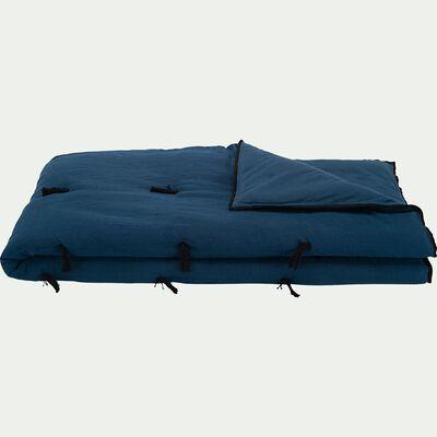 Édredon en coton et lin piquage pompons - bleu figuerolles 100x180cm-ELINA