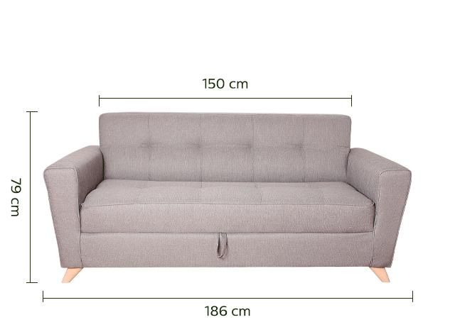 Canapé 3 places convertible en tissu gris clair-VICKY
