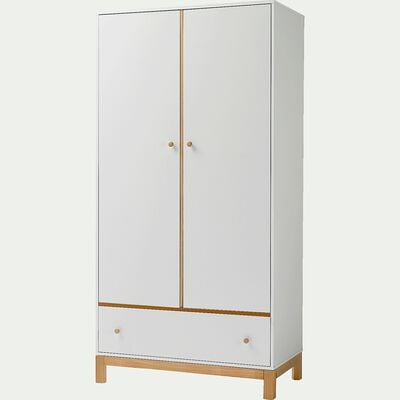 Armoire 2 portes battantes et 1 tiroir Blanc-IZY