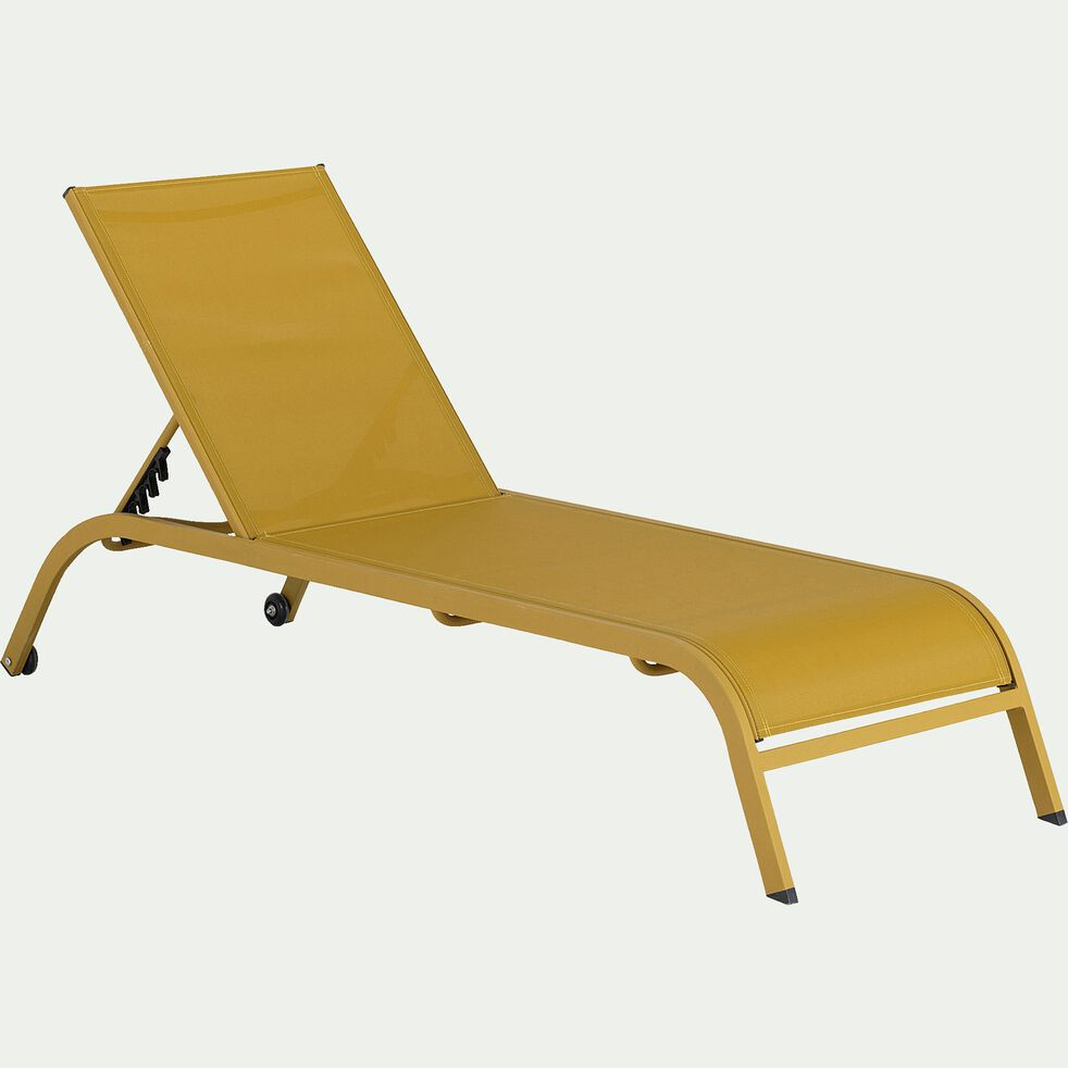 Bain de soleil en acier et textilène - jaune argan-Hari
