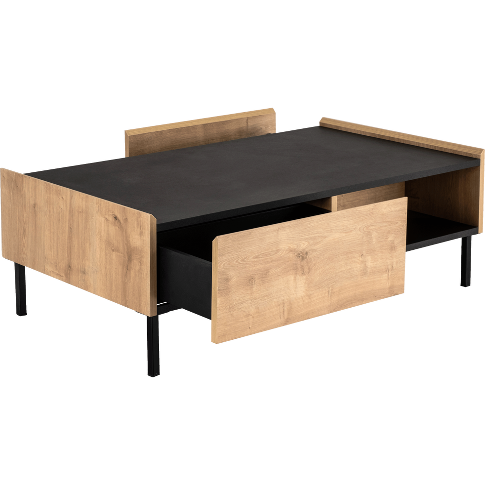 table basse 2 tiroirs coloris ch ne et ardoise madon tables basses alinea. Black Bedroom Furniture Sets. Home Design Ideas