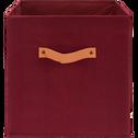 Panier de rangement 31x31 cm en lin Rouge sumac-ERRO