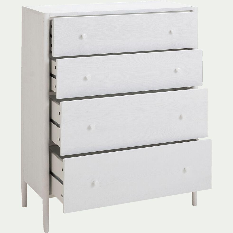 Commode 4 tiroirs en bois - H110xP40xl90cm blanc-PRADO