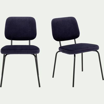 Chaise en velours - bleu myrte-LUCY