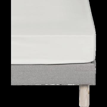 Drap housse en coton Blanc capelan 160x200cm-bonnet 25cm-CALANQUES