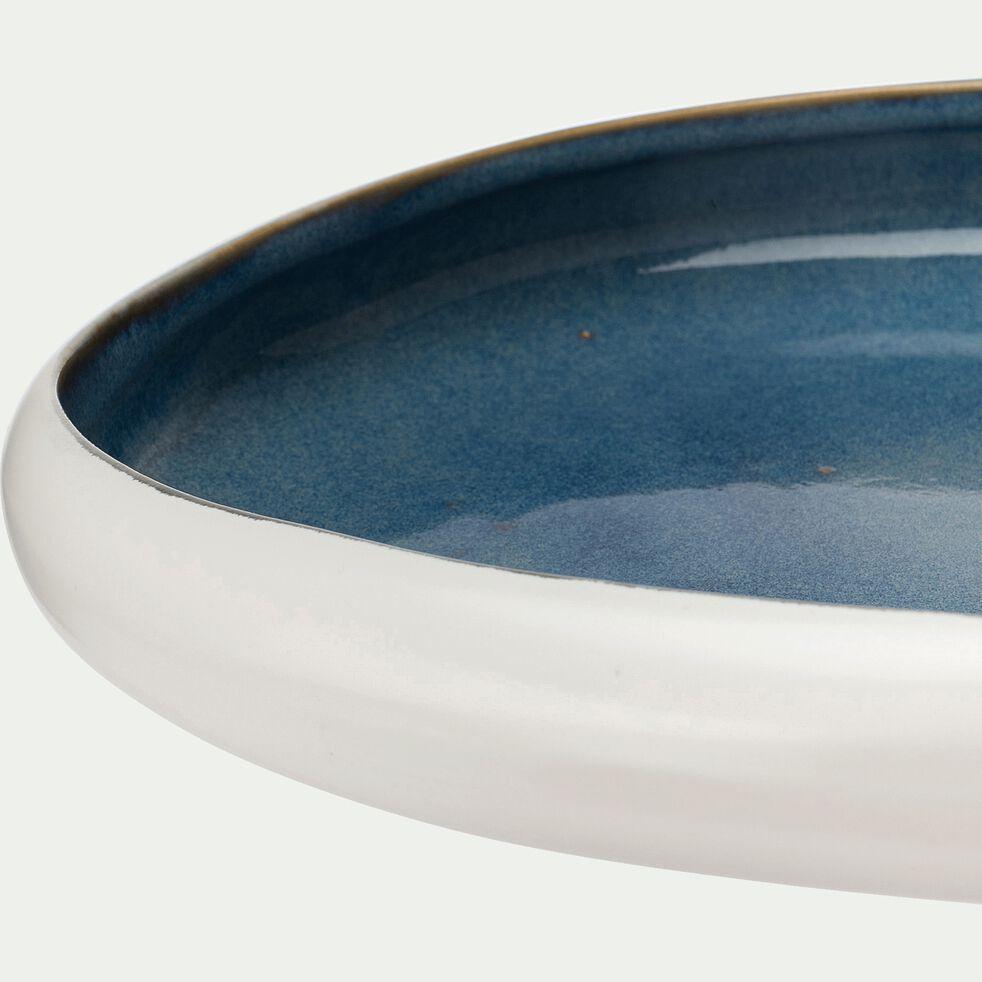 Coupe en céramique - blanc et bleu 23,5x26,5cm-LEILA