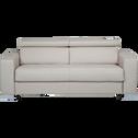 Canapé 3 places convertible en tissu beige-MAURO