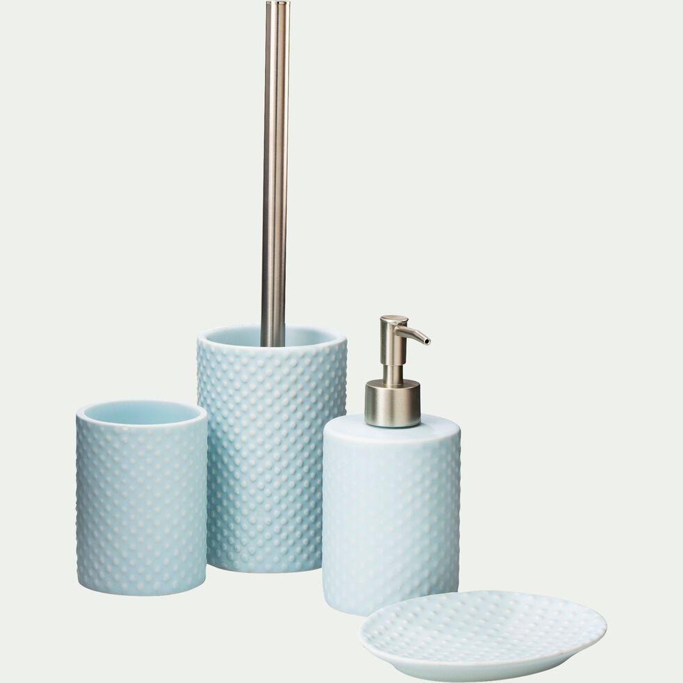 Distributeur de savon liquide en céramique relief - bleu amandier-NARCISSE