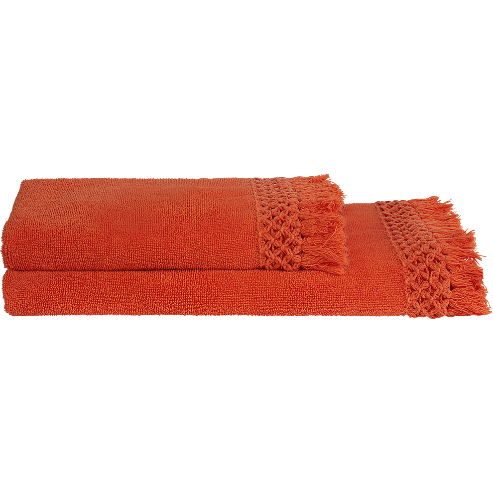 Linge de toilette orange corail-BAHA