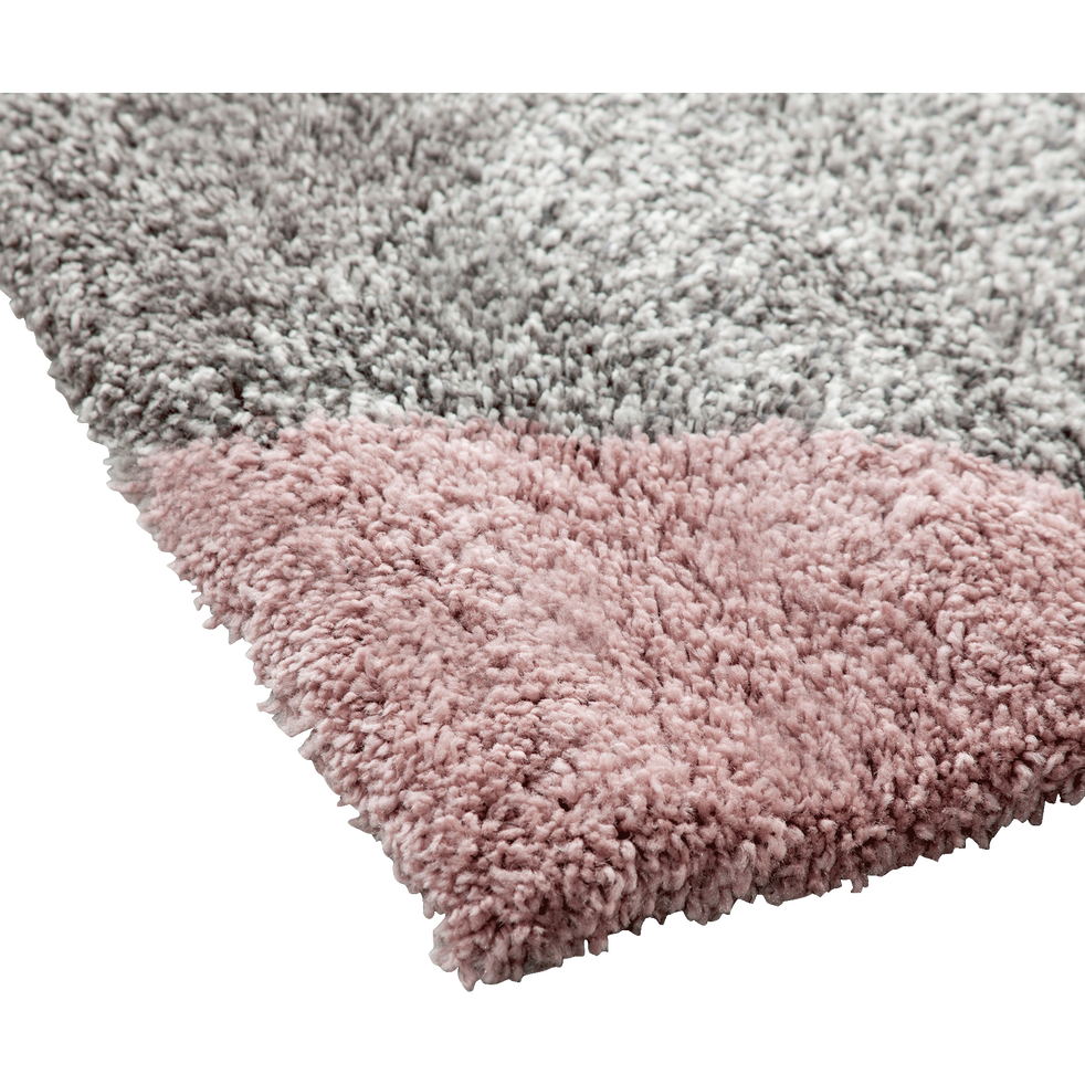 Tapis à poils longs motifs géométriques rose 120x170cm-OSLO