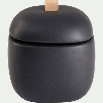Boîte déco en grès - noir D8,5xH8,5cm-POM