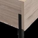 Lit 2 places finition chêne et métal noir - 160x200 cm-CASTEL