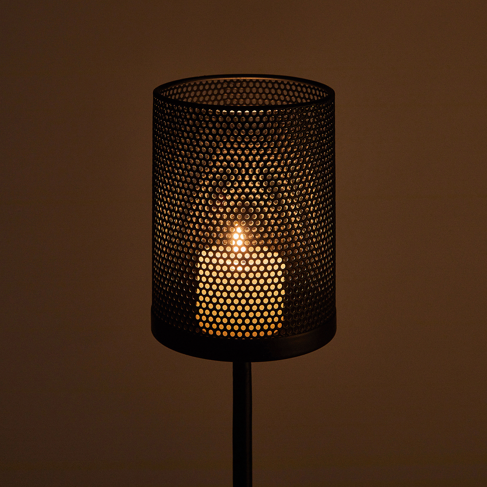 Photophore en métal - noir - H120cm-MELUSINE