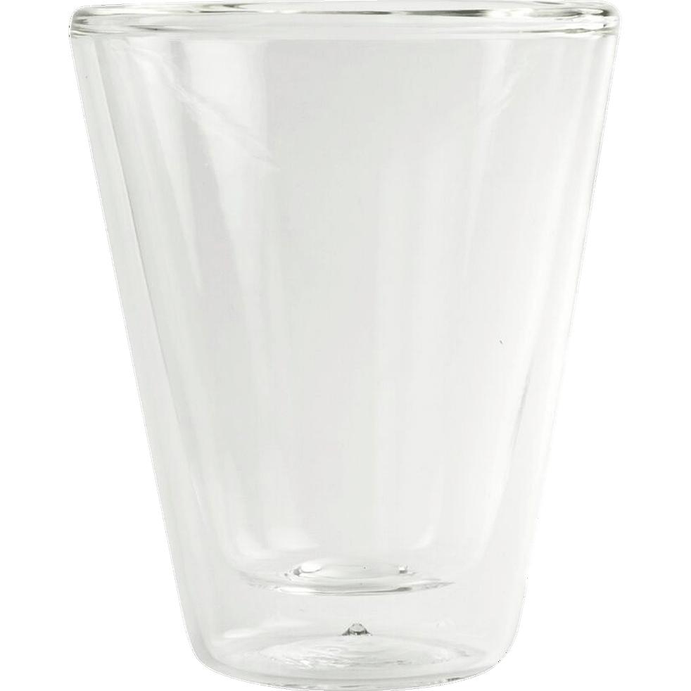 Lot de 2 tasses en verre transparent 8,5cl-THERMIC