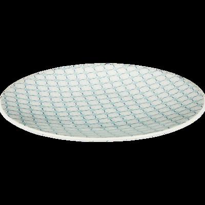 Assiette plate en grès bleu D27cm-MOUCHA