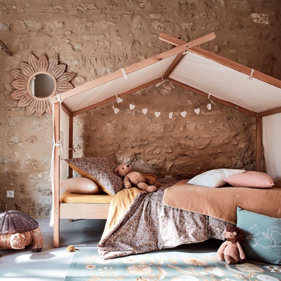 Lit cabane 1 place en pin massif 90x200 cm - naturel-ALOUETTE