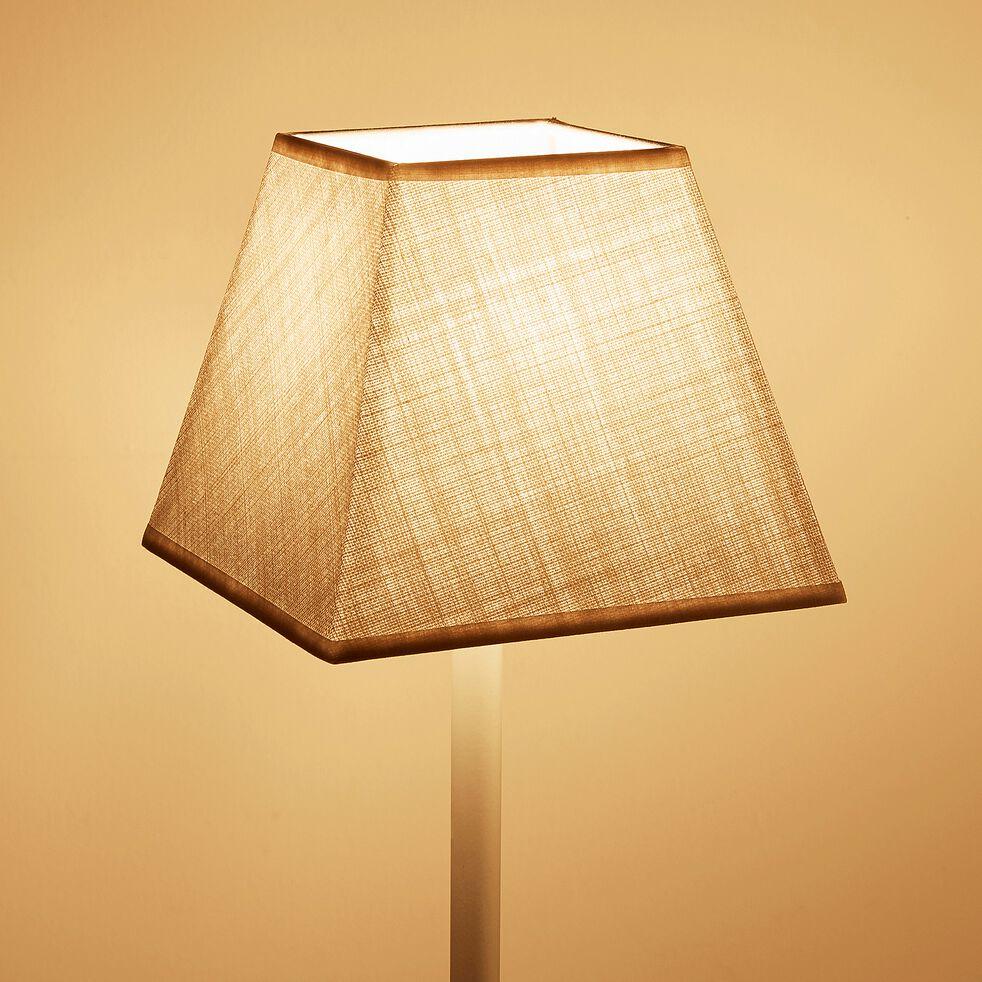 Abat-jour carré en coton - 16cm beige roucas-MISTRAL
