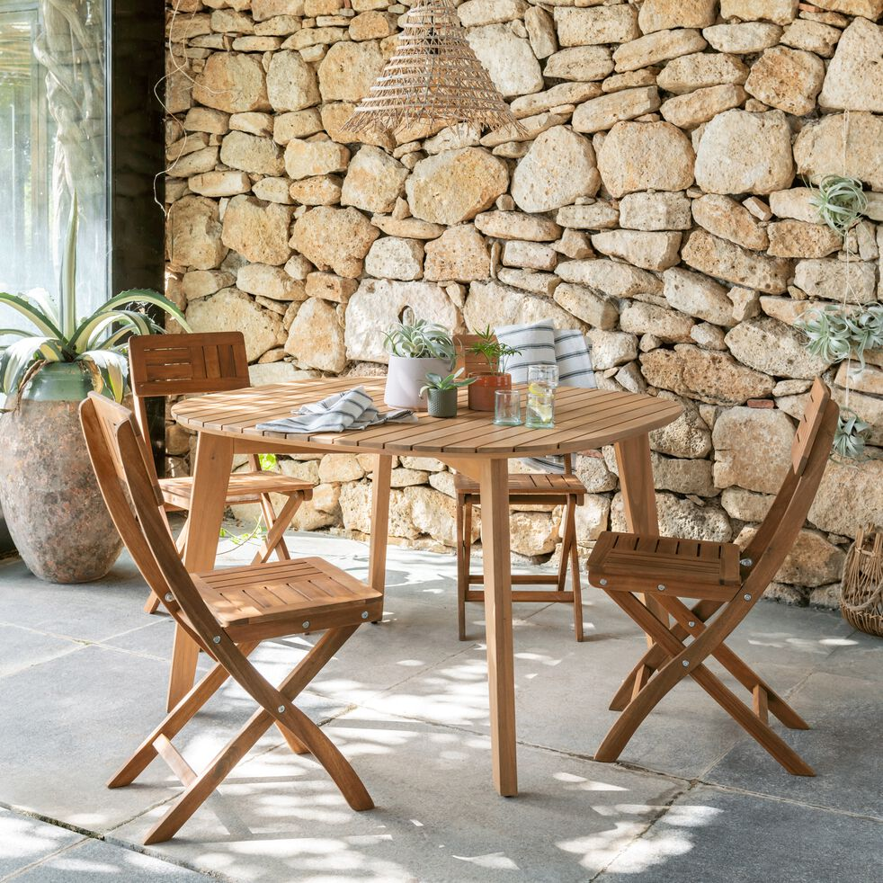 Table de jardin carrée en acacia - naturel (5 places)-ZEPPLIN
