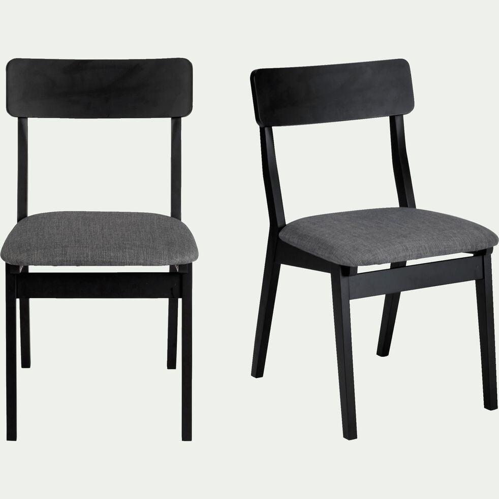 Chaise noire en hévéa et tissu gris foncé-TAMARIS