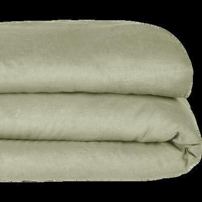 Housse de couette en lin Vert olivier 260x240cm-VENCE