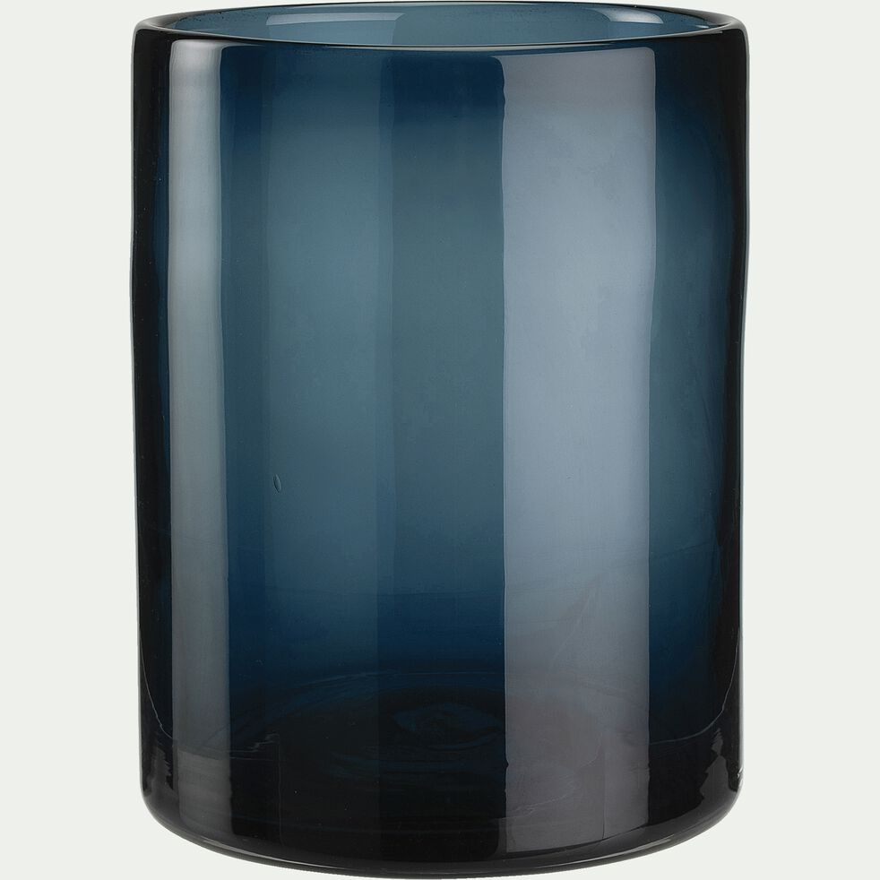 Vase taillé en verre - bleu H15cm-VINKO