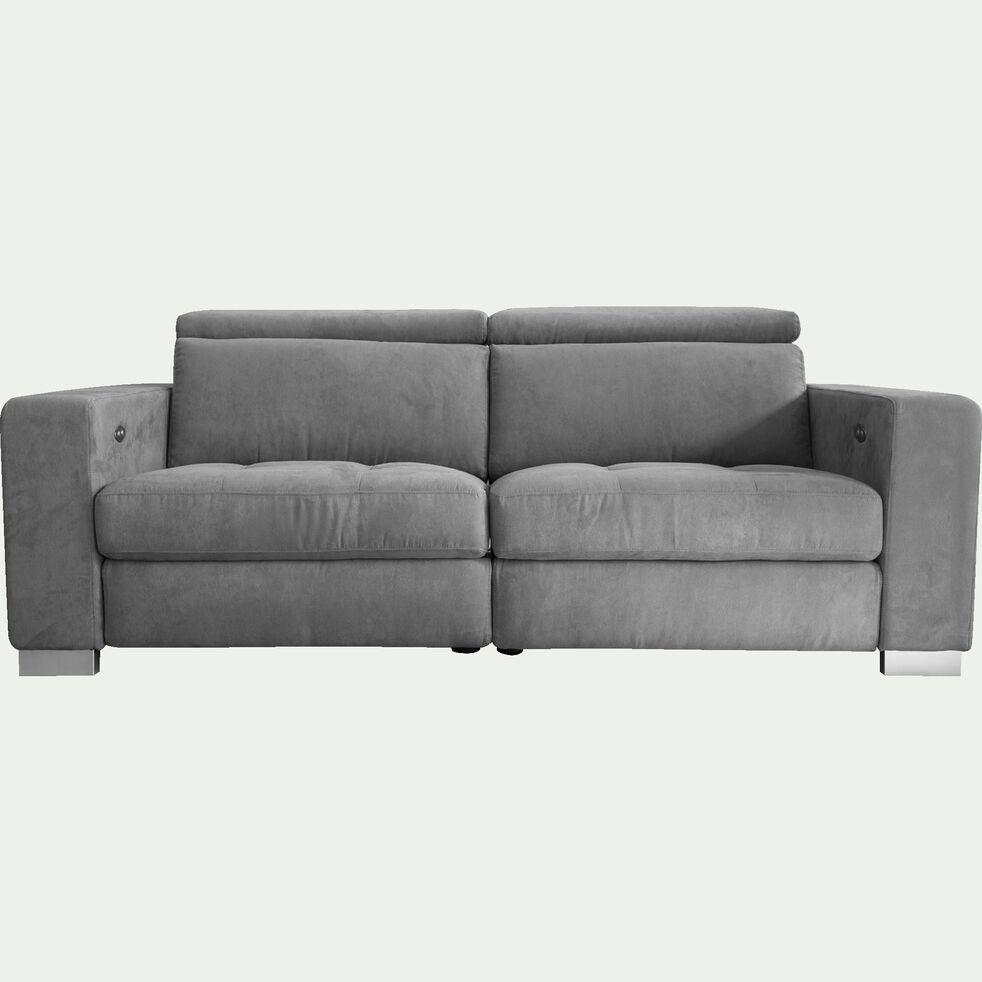 Canapé de relaxation 2 places en tissu accoudoirs 20cm - gris-MAURO