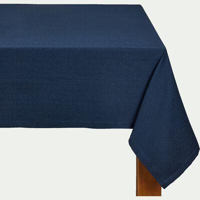 Nappe en polyester et coton bleu 140x250cm-METROPOLITA