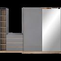 Armoire dressing avec 2 portes coulissantes effet chêne - gris-NESTOR