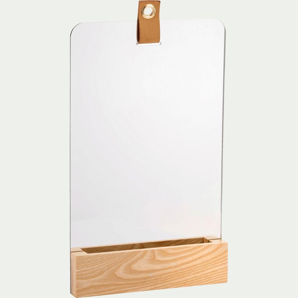 Miroir de salle de bain à poser en frêne - naturel 23x38cm-GANDIN