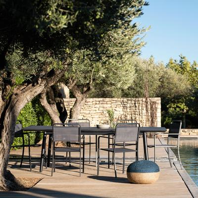 Table de jardin extensible en aluminium noir (6 à 10 places)-BONIFACIO