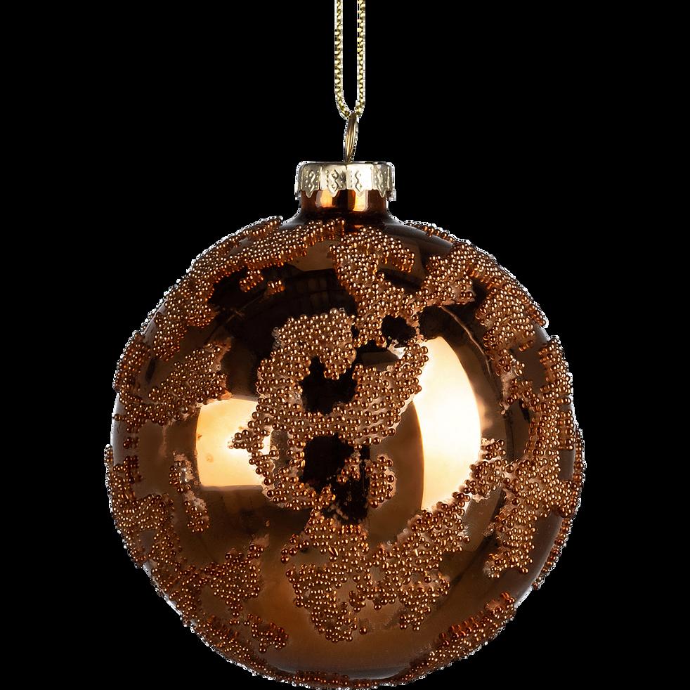 Boule de Noël en verre marron D8cm-PLACIDE