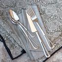 Chemin de table en lin vert à motifs amande 50x145cm-ARLES
