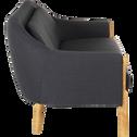 Canapé 3 places fixe en tissu gris et piétements hauts dans accoudoir-CLÉMENT