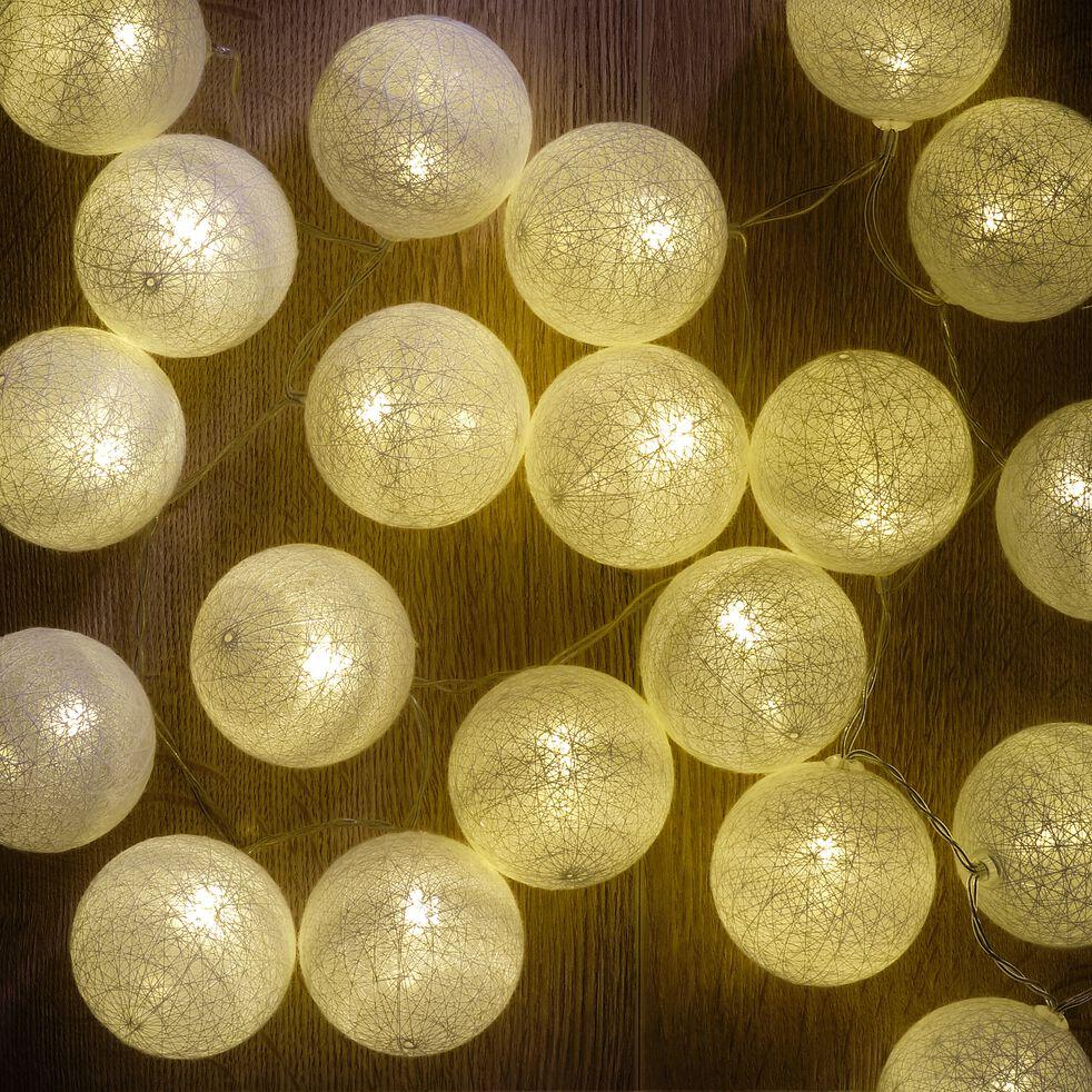Guirlande lumineuse à pompons en coton - blanc L90cm-Risa