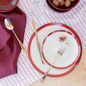 Assiette à dessert en porcelaine motif dégradé rouge sumac D19cm-VIC