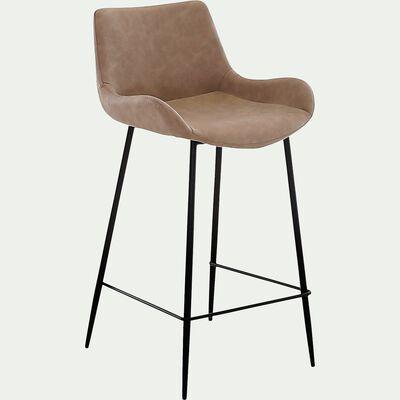 Chaise de bar en simili beige - H66cm-GEDEON