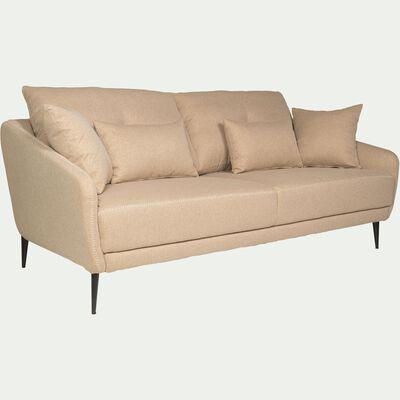 Canapé 3 places fixe en tissu beige roucas-DOME