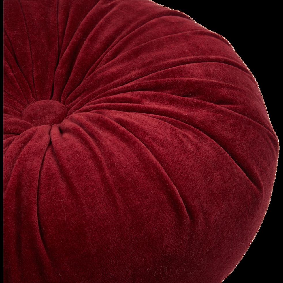 Coussin rond en velours rouge D35cm-PRECIEUX