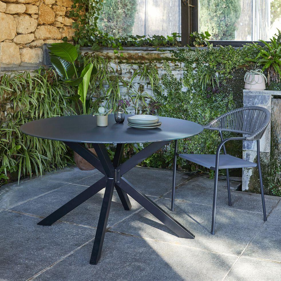 Chaise de jardin avec accoudoirs en aluminium et corde - noir-LORCA