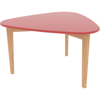 Table basse triangulaire rouge avec pieds en chêne-SIWA
