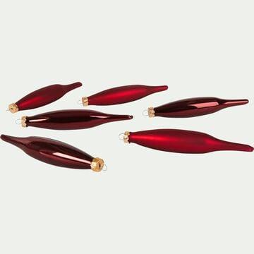 Lot de 6 stalactites en verre rouge sumac H15xD3cm-NINE